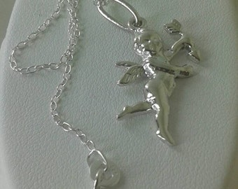 925 esterling silver cupid  charm /925 sterling silver pendant /chain in solid silver/cupid charm/cupid silver/cupid necklace