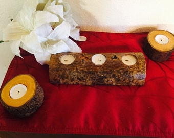 3 Piece Log Candle Holder