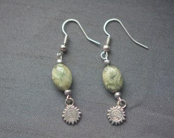 Earrings, beads of green Jasper, and Sun symbol