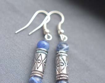 Earrings, blue sodalite semi precious beads, with metal bead, ethnic, bohem discret style