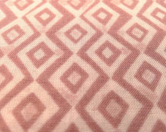 Organic cotton lawn, Diamond print geometric, Dusty Rose, Diamond in the rough by Monaluna, Argyle, Lightweight Fabric, by the yard