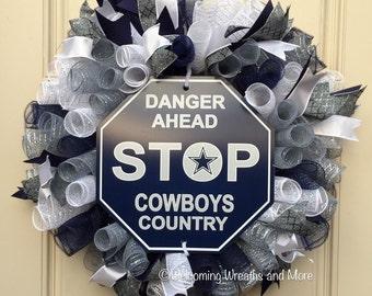 Dallas Cowboys Wreath, Cowboys Deco Mesh Wreath, Dallas Cowboys Mesh Wreath, Cowboys Wreath, Dallas Cowboys Decor