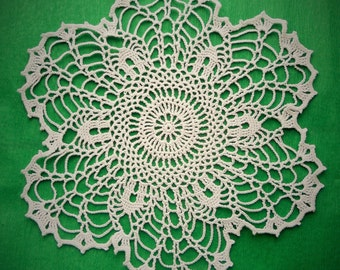 11 inch Doily, White Crochet Lace Doily, White Table Decoration, White Lace Tablecloth, Crochet Cotton Doily, Lace Gift for Her, Rustic Deco