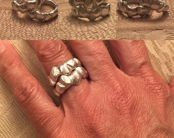 Hip Ladies .925 Sterling silver hand carved stackable rings. Price is per ring