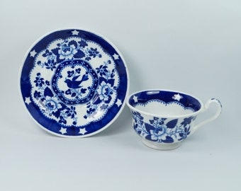Antique Georgian Blue and White Transferware Cup and Saucer Hilditch And Son Bird And Stars Pattern Circa 1822
