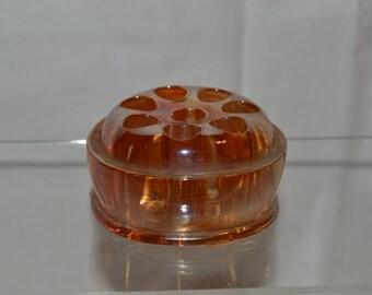 Marigold Carnival Glass Flower Frog - Vintage Item #4056