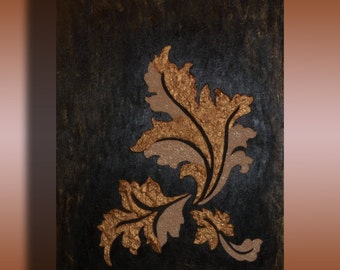 Modern textured painting, floral decoration in relief, painting on paper mache, black gold natico, decorative Panel, contemporary art.