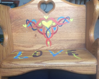 Hand painted small bench