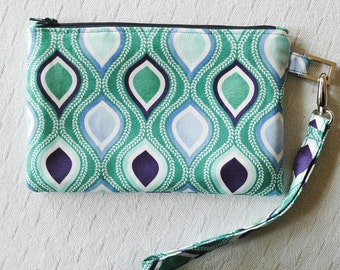 Wristlet bag purse pouch blue with detachable strap inner pocket