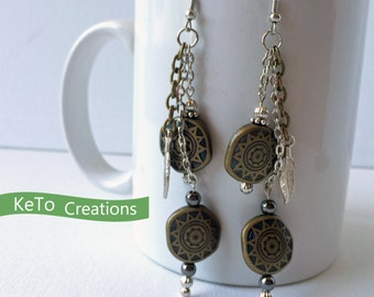 Earrings, Dangle Earrings, Olive Green And Silver Earrings, Southwestern Inspired Earrings, Beads Feathers And Chains Earrings