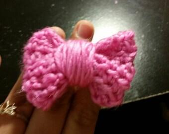 pink vegan crocheted bow