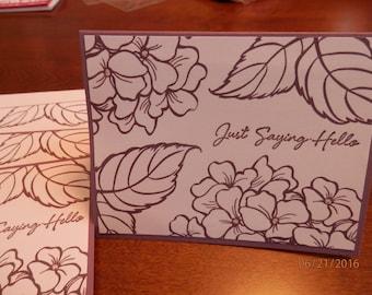 "Set of 4 Handmade ""Hello"" cards"