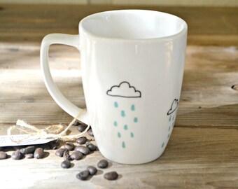 Cheery Rain Clouds - Hand Painted Coffee Mug  - White Mug Ceramic Tea Cup Cloud Mug  Coffee Cup Little Rain Clouds