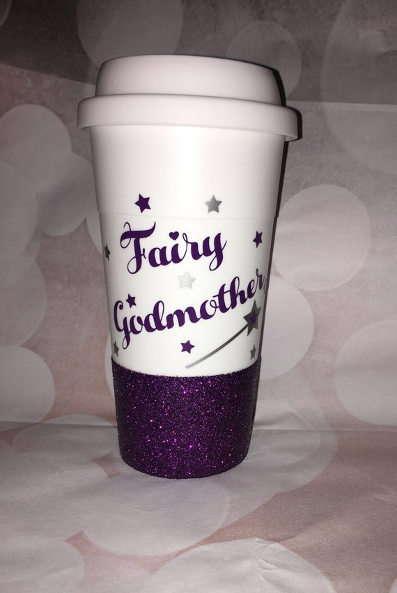 Fairy godmother glitter dipped tumbler, glitter dippped coffee cup, glitter to go cup, plastic tumbler,plastic to go cup,fairy godmother cup