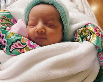 Crochet baby turban hat