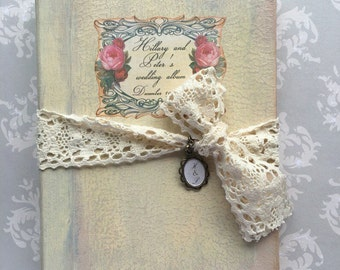 Vintage Wedding Guest Book, Wedding Shabby Chic Antique Photo album, Custom Wedding