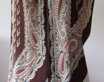 1930's  bias cut silk crepe scarf paisley patterned in browns