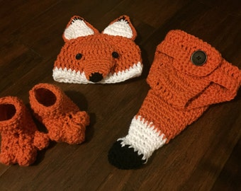 Made to Order: Fox outfit with hat, diaper cover and booties