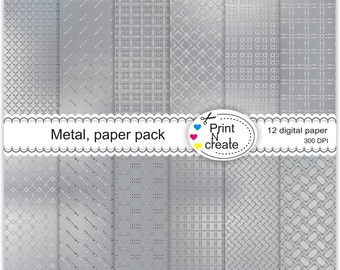 Metal paper pack - Digital Paper Pack - scrapbooking paper pad - Digital Scrapbooking - Instant Download - SALE