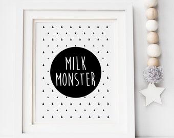 Milk Monster Print - Monochrome Nursery Print