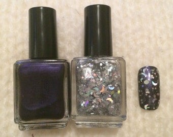 Blue purple Silver Holographic Dreaming Indie Nail Polish Set