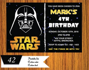 Star Wars Invitation - Star Wars Party Invitation - Galaxy wars Birthday Party Invitation - Star Wars Printable - FREE card THANK YOU | M42