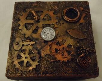 Steampunk Style Wooden Trinket Box 10cm x 10cm