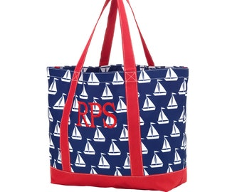 Boy's Red, White, and Blue Sail Away Tote Bag - Sail Away Kids Tote Bag - Monogrammed - Personalized - Beach Bag
