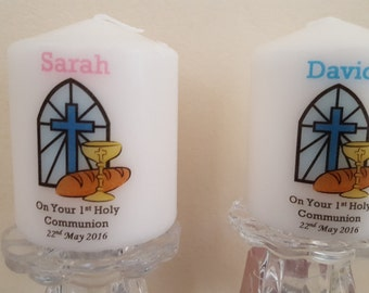 Personalised first 1st holy communion candle gift
