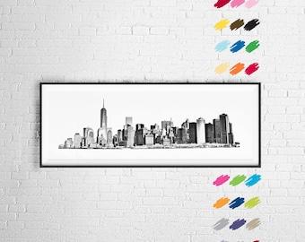 New York City skyline, Manhattan Skyline, New York City skyline poster, New York skyline drawing, New York skyline sketch, Manhattan poster