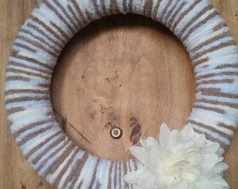 Blue and Grey Yarn Wreath. Baby boy wreath, nursery decor