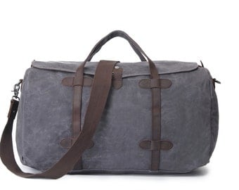 Lidded Leather Canvas Duffel Bag (Grey)