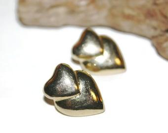 Double Heart Earrings, Gold Heart Earrings, Gold Stud Earrings, Gold Tone Jewelry, Heart Stud Earrings, Double Hearts, Vintage Jewelry