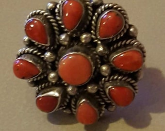 Solid Silver red coral ring.