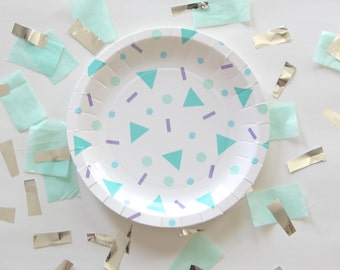 Confetti Pop Small Paper Plates - Geometric Teal Blue Lavender - confetti print plates - birthday party baby shower Bash Party Goods