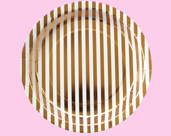 Copper Stripe Large Paper Plates - Copper Metallic Foil plates - valentine galentine's brunch birthday party shower wedding glam