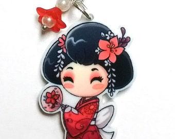 Lovely Geisha Acrylic Charm