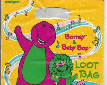 Barney & Baby Bop 8 Loot Bags Birthday Party by Lyon Group Unique from 1995