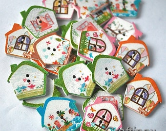 20 Wooden House Shaped Buttons - 25 mm - scrap booking, crafts, sewing projects - UK Seller