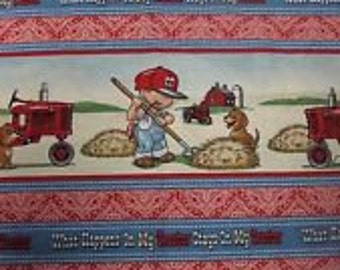 Farmall Tractor Fabric/  What Happens On My Tractor Stays On My Tractor / Yardage Available/ Sold by the Yard