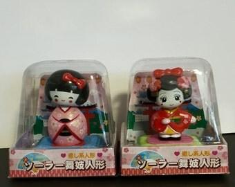 Solar Powered Japanese Geisha Doll Bobble Head