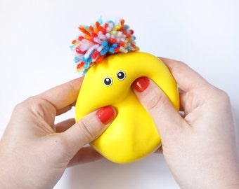Yellow doll, Kids party game, Softie, Kawaii, Candy colors, PomPom, Montessori toy, Sensory, Handmade doll, Hair color, Feelings,Stress ball