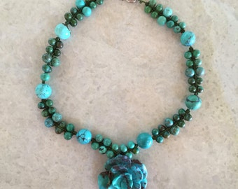 Turquoise Rose Pendant Double-strand Beaded Necklace