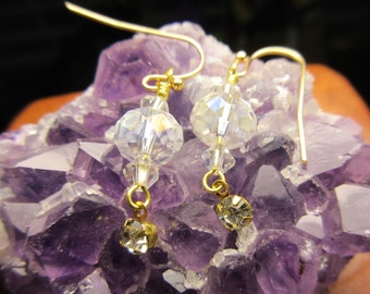 Gold Crystal Swarovski Dangle Earrings