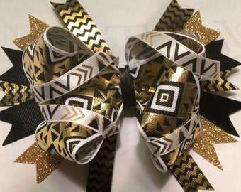 Black & gold boutique style hairbow