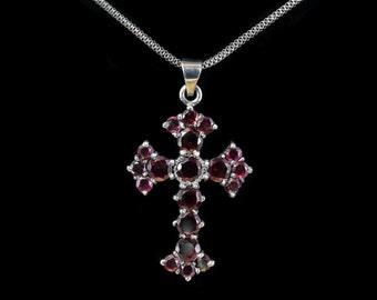 Garnet cross ,Victorian cross necklace,Black Silver cross,Handmade cross,Large silver garnet cross,Sterling Silver cross, Victorian chocker