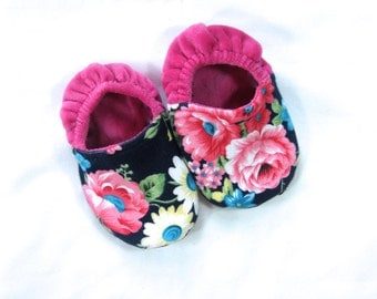 Blue Flower Baby Slipper Shoes -- Customizable size 3 to 24 months