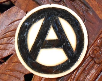 """2"""" Anarchy Magnet - Wood Burned Magnet, Pyrography Art, Wood Magnet, Anarchy"""