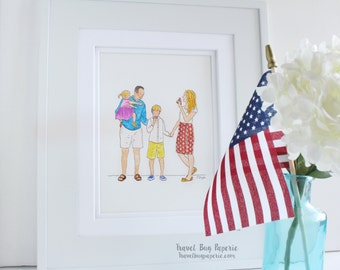 Custom Family Illustration (Family of 4) - Family Portrait