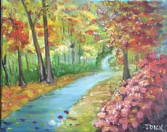 Walk in the Leaves: original oil painting